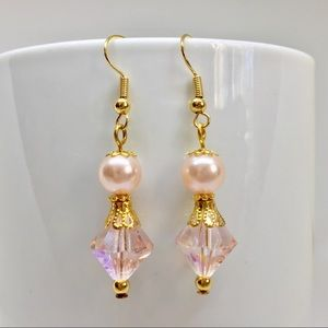 Jewelry - New Blush AB Crystal & Faux Pearl Dangle Earrings
